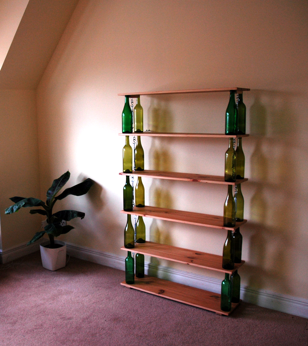 Bookshelf built from wine bottles