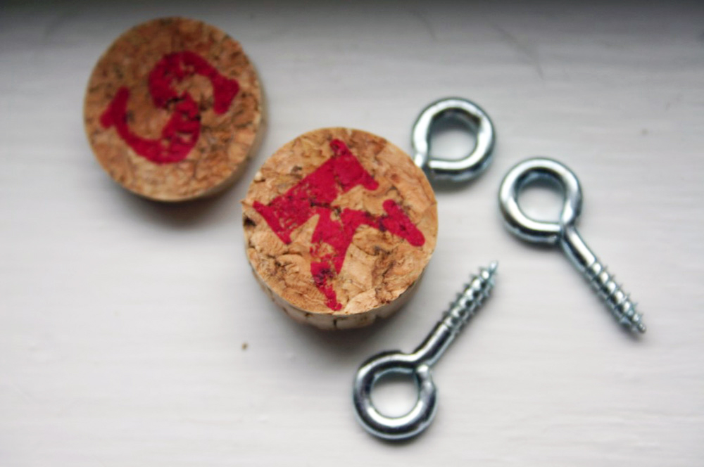 Charms made from wine bottle corks