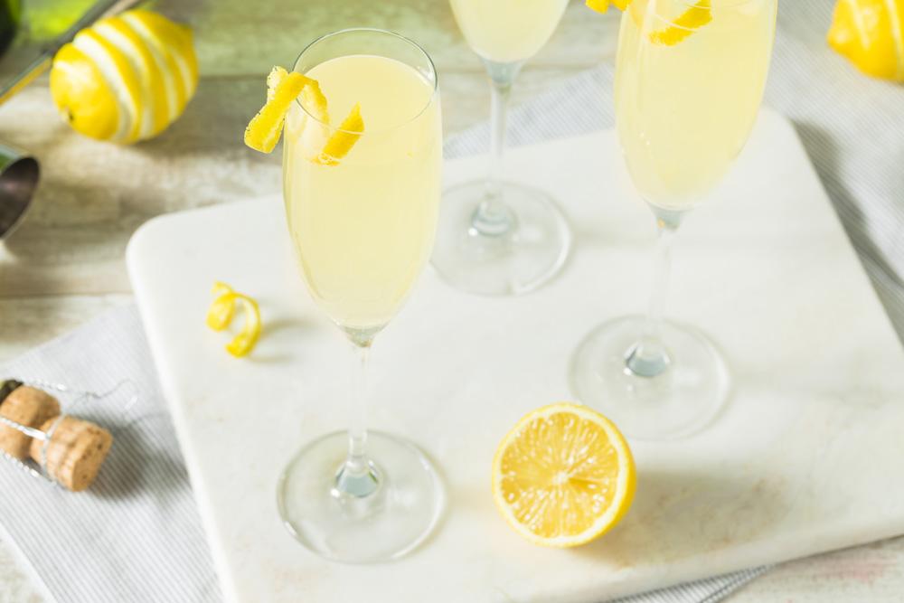 Frecn 75 champagne cocktail for Mardi Gras