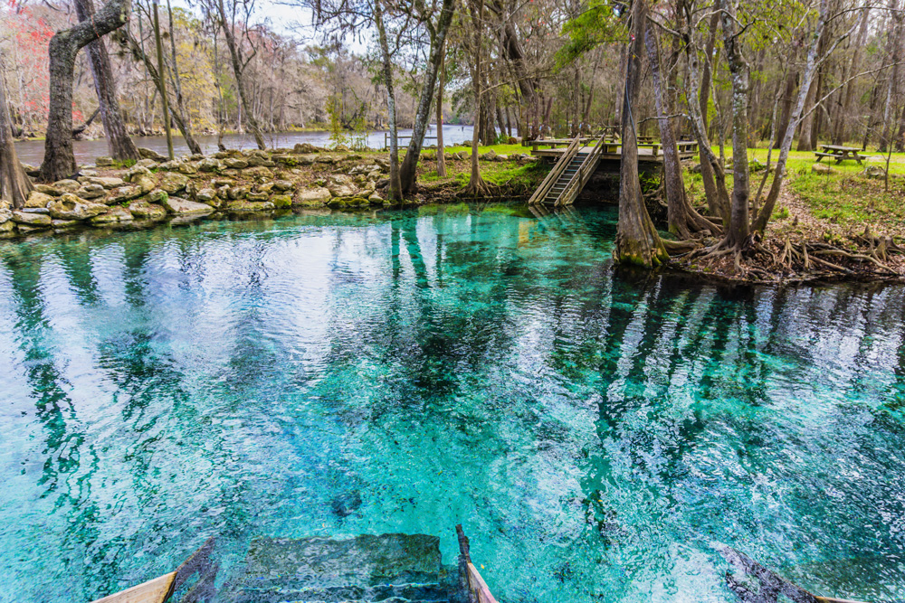 Old Florida has beautiful clear springs to visit.