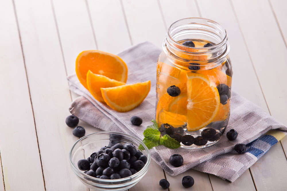 blueberry orange flavored water