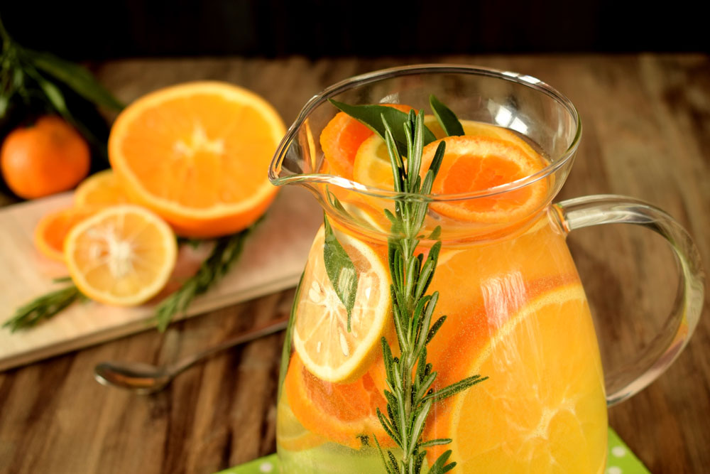 orange mango rosemary flavored water