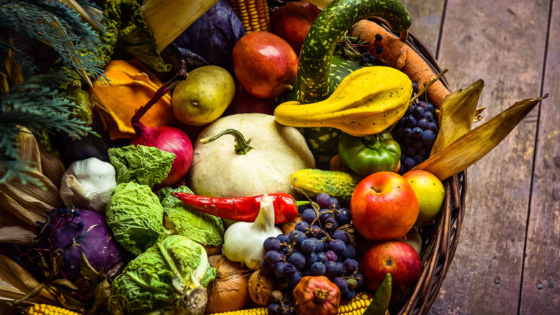 Fall produce includes a variety of fruits and vegetables.
