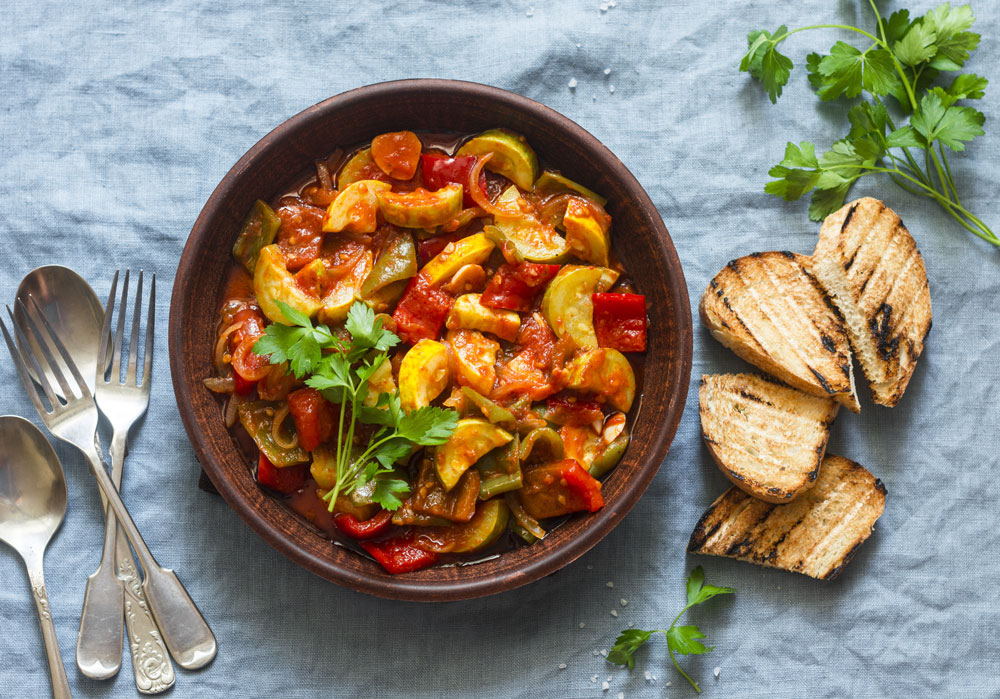 Vegetarian cacciatore is loaded with mushrooms, peppers and onions.