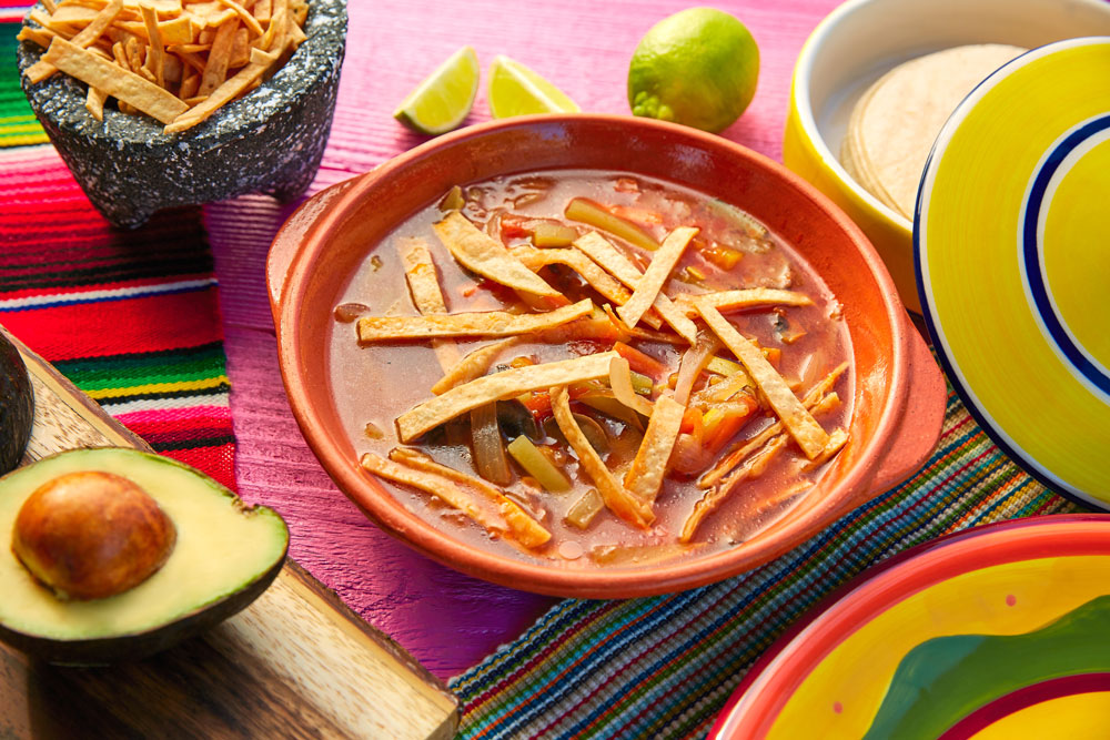 Sopa azteca is a traditional food for el dia de los muertos.