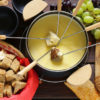 Cheese is the traditional first course for a fondue party.