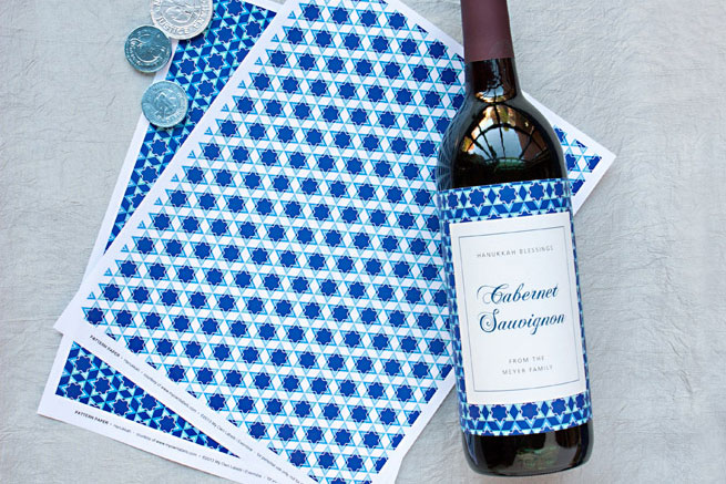 Make custom wine labels for Hanukkah holiday crafts.