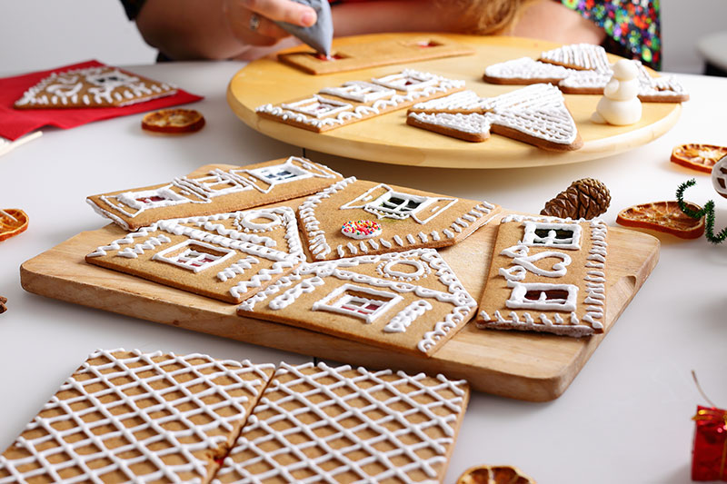 Decorate the pieces of your gingerbread house before building.